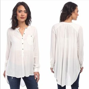 Free People Rayon Button Down Boyfriend Shirt